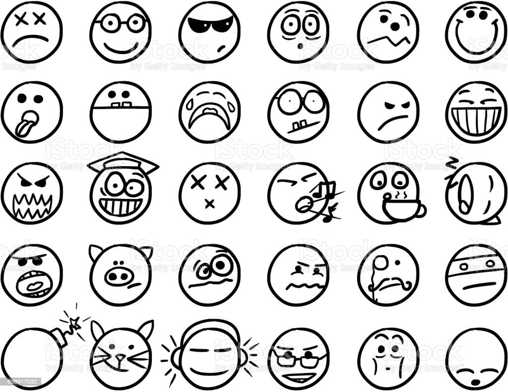 Smiley Vector Hand Drawings Icon Set02 in Black and White vector art illustration
