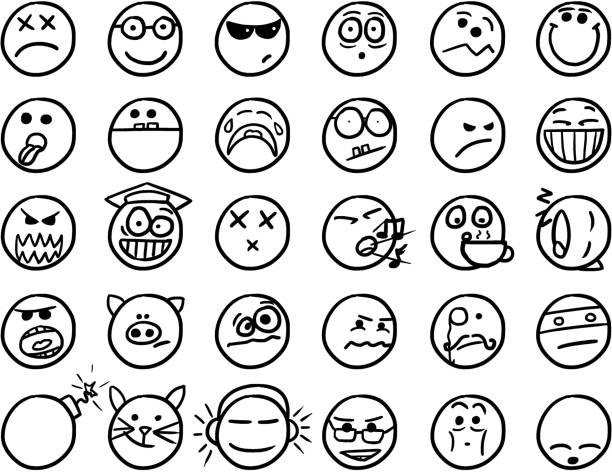smiley vector hand drawings icon set02 in black and white - tears of joy emoji stock illustrations