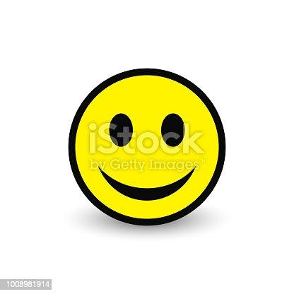 istock Smiley yellow icon. Vector emoticon happy face. 1008981914