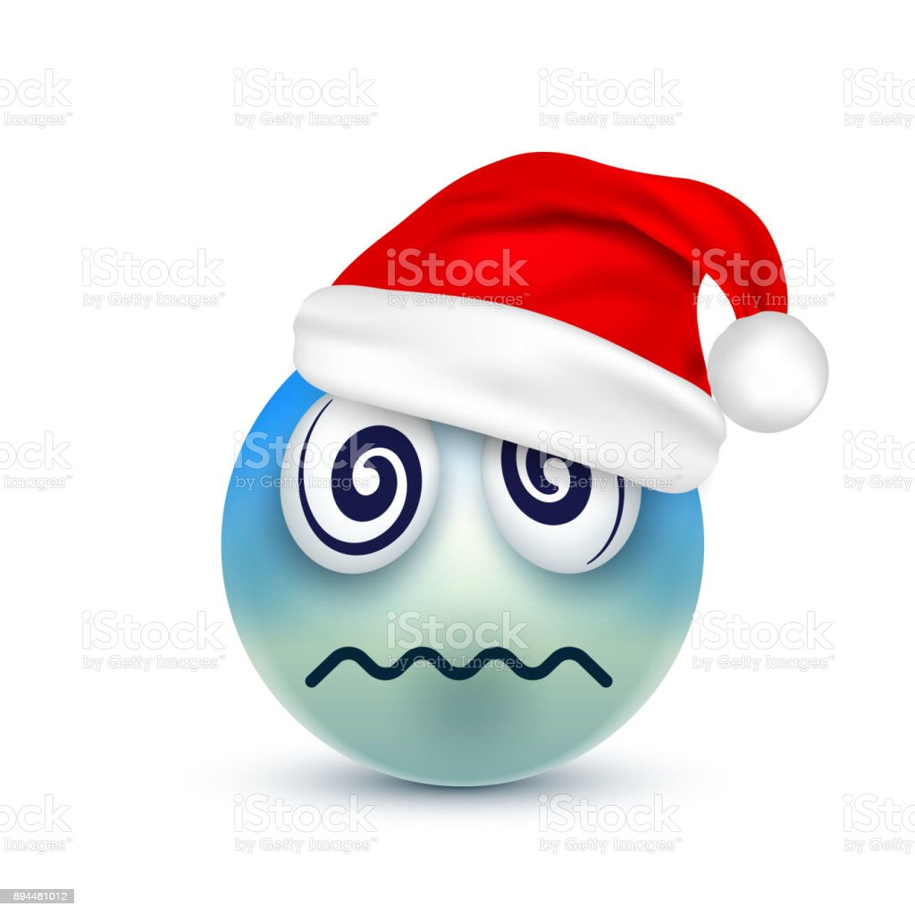 Smileyemoticon Blue Emoji Face With Emotions And Christmas Hat New