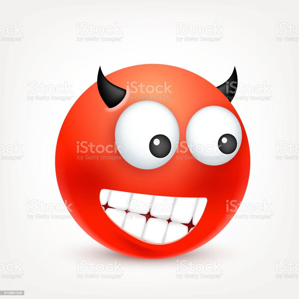 Ilustración De Smiley Emoticon Cara Roja Con Las Emociones Expresión