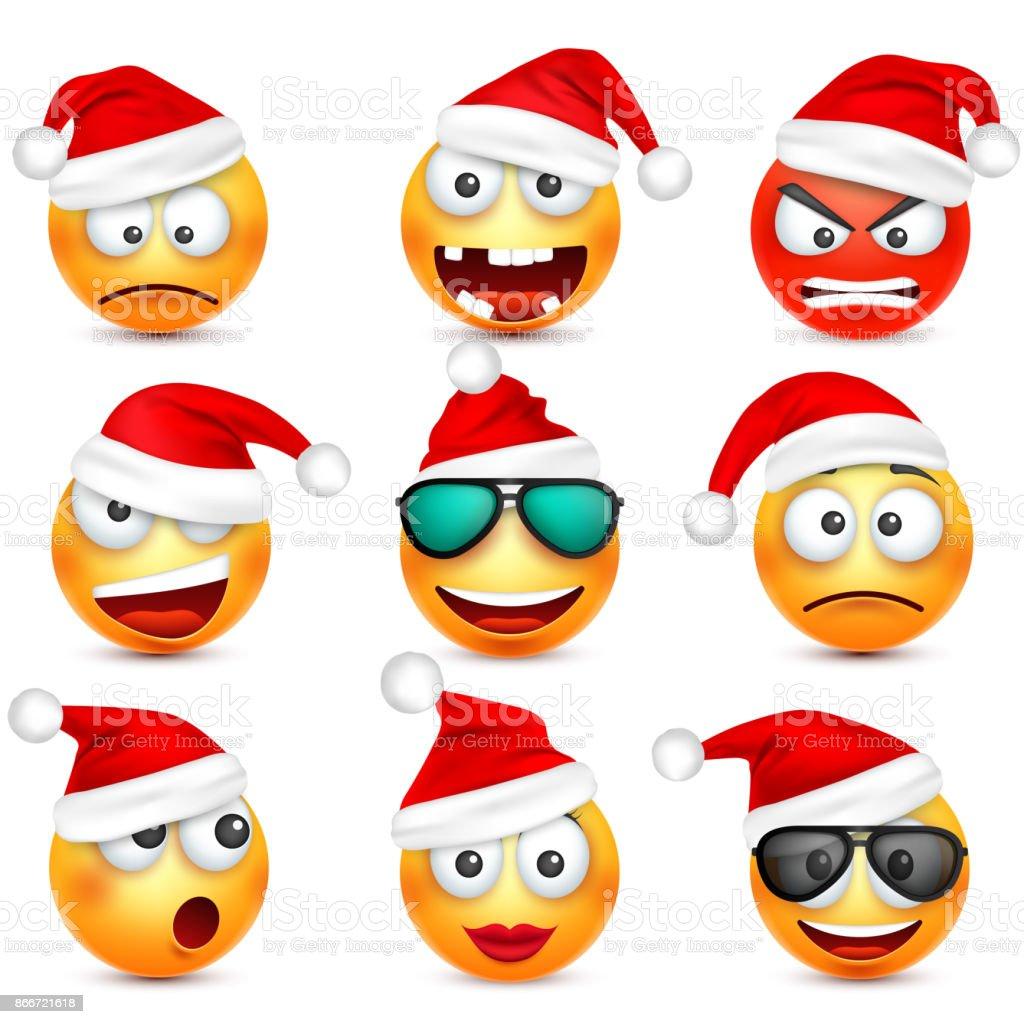Smiley Emoticonsatz Gelbes Gesicht Mit Emotionen Und Weihnachtsmütze ...