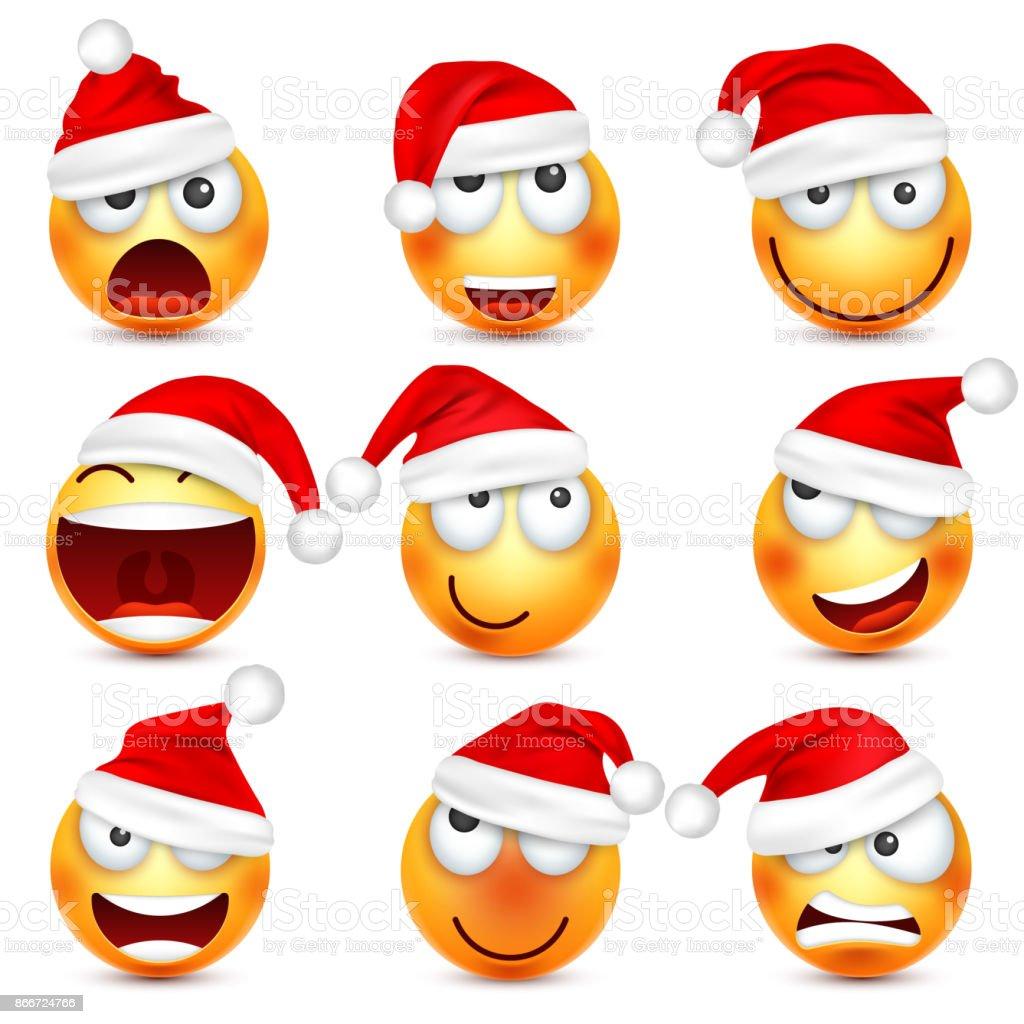 Smiley Emoticon Ensemble Face Jaune Avec Emotions Et Chapeau De Noel Nouvel An Santawinter Emoji Visages Tristes Heureux En Colere Personnage De Dessin Anime Drole Humeur Vector Vecteurs Libres De Droits Et
