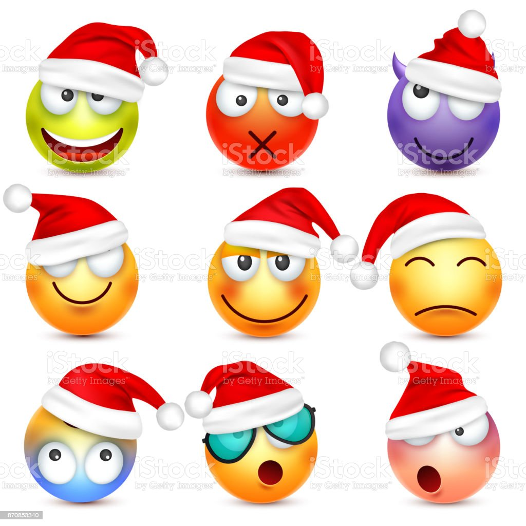 yellow face with emotions and christmas hat new year