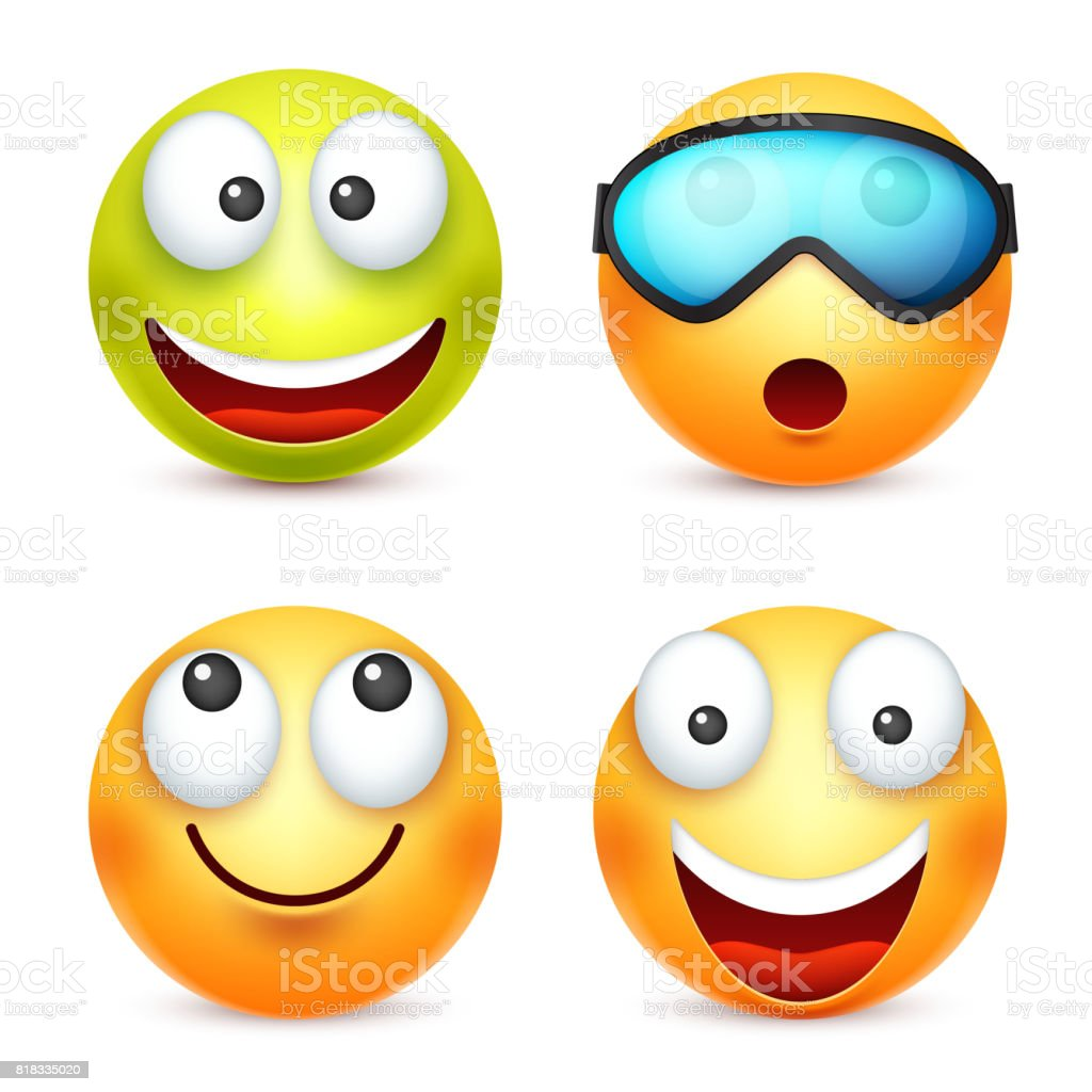 Vetores De Smiley Emoticon Conjunto Rosto Amarelo Com