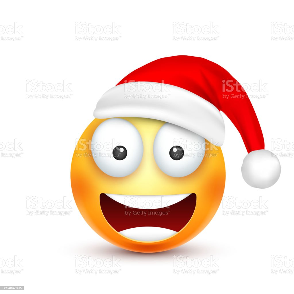 smileyemoticon yellow emoji face with emotions and christmas hat new year