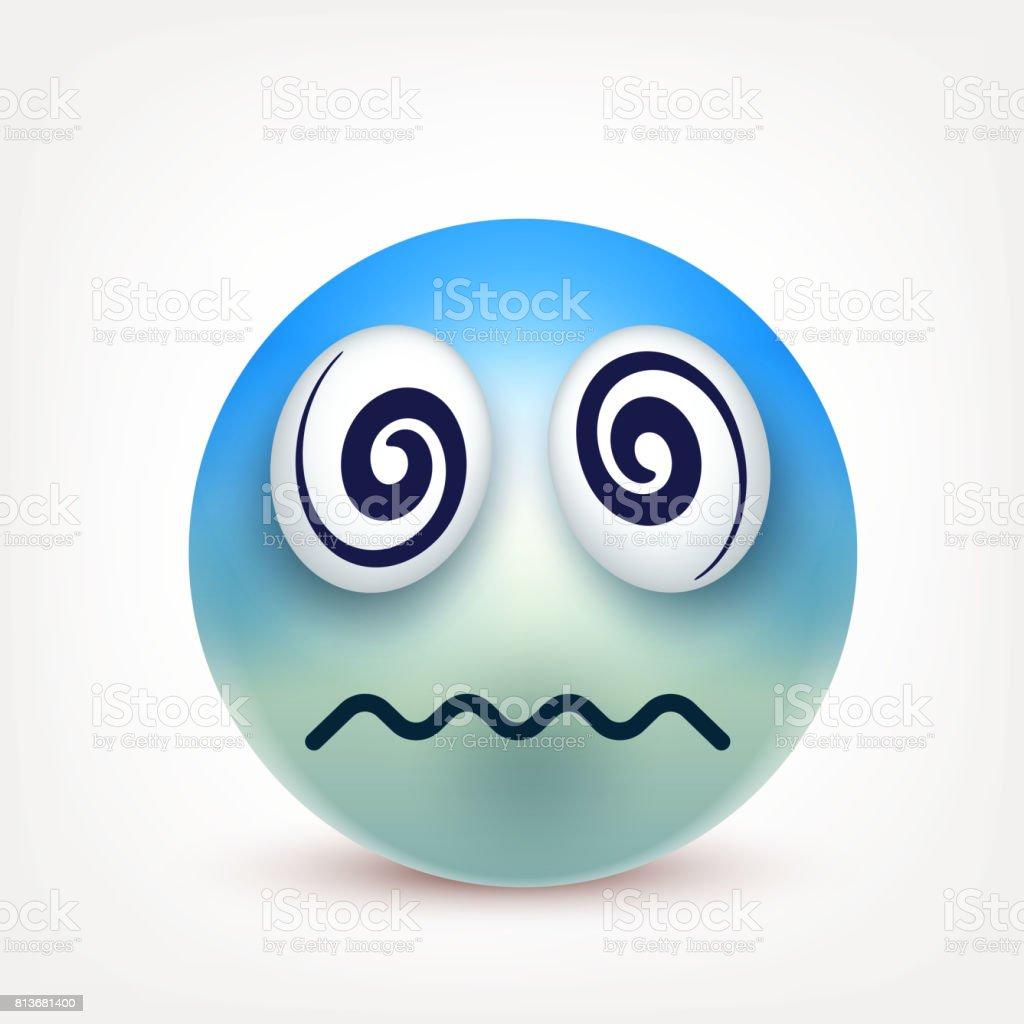 Vetores De Smiley Emoticon Rosto Amarelo Com Emoções Expressão Facial Emoji Realista 3d Rosto Triste Feliz Zangado Personagem De Desenho Animado Humor