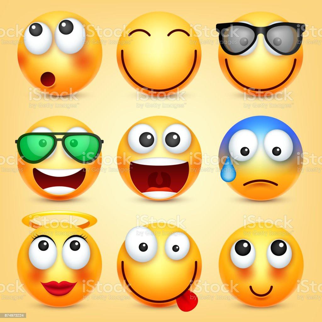 Smiley Ifadeleri Ayarlayin Sari Yuz Duygularla Yuz Ifadesi 3d