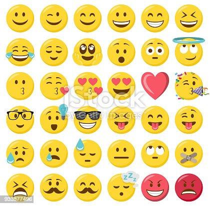 Smileys emoji emoticon flat design set