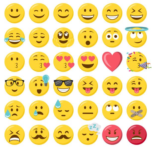 Smileys emoji emoticon flat design set Smileys emoji emoticon flat design set happiness stock illustrations