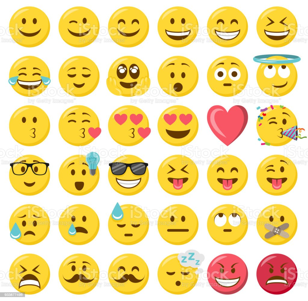 Smileys emoji émoticônes design plat ensemble - Illustration vectorielle