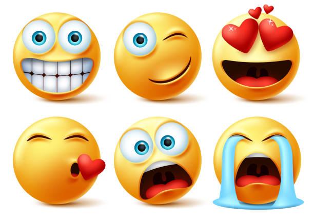smileys emojis und emoticons gesicht vektor-set. smiley-symbol oder emoticon von niedlichen gelben gesichtern - kiss stock-grafiken, -clipart, -cartoons und -symbole
