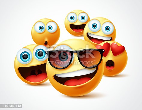 Smileys emojis famous celebrity vector concept. Famous smiley emoticon yellow faces group in 3d realistic avatar with cute, funny, excited, happy and smiling expression in white background. Vector illustration.