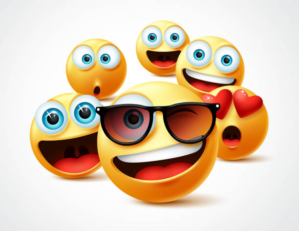 ilustrações de stock, clip art, desenhos animados e ícones de smileys emojis famous celebrity vector concept. famous smiley emoticon yellow faces group in 3d realistic avatar. - surpresa