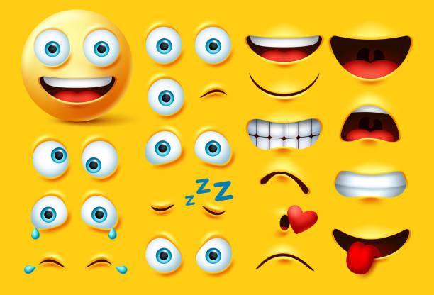 ilustrações, clipart, desenhos animados e ícones de smileys emoticon personagem criação vector conjunto. emoji sorridente rosto kit olhos e boca em raiva, louco, chorando, impertinente, beijando e rindo. - landscape creation kit
