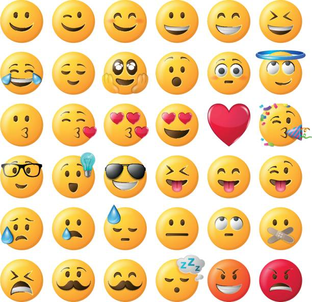 smileys emoticon vector set - happy emoji stock illustrations, clip art, cartoons, & icons