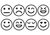 Smileys emoticons icon positive, neutral and negative, different mood. Vector illustration