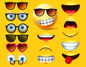 Smileys emoticons with sunglasses vector creation kit. Smiley emojis and emoticon head face kit eye and mouth in surprise, angry, sad, naughty and angry expression isolated in yellow background. Vector illustration.