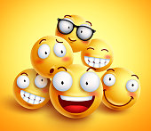 Smileys face vector design with group of cheerful happy friends of funny smileys with facial expressions in yellow background. Vector illustration.