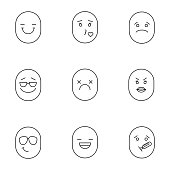 Smiles linear vector icons. Thin line. Smiling, kissing, sad, dead, angry, laughing, sick emoticons