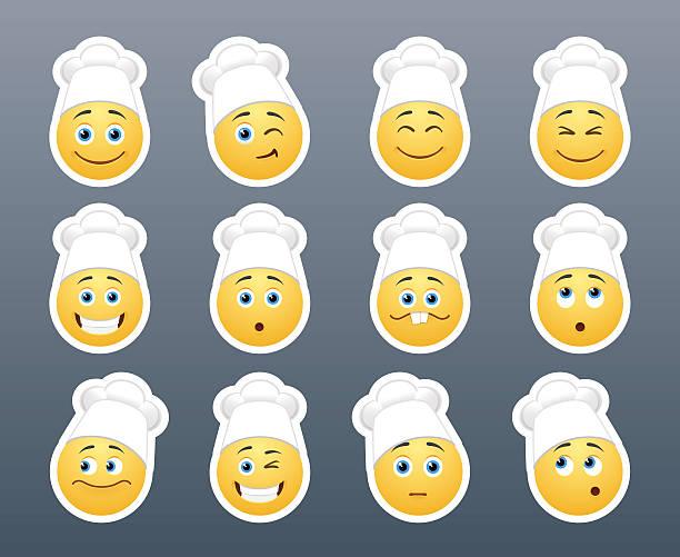 ilustrações de stock, clip art, desenhos animados e ícones de os'smileys'em branco tampas - cooker happy