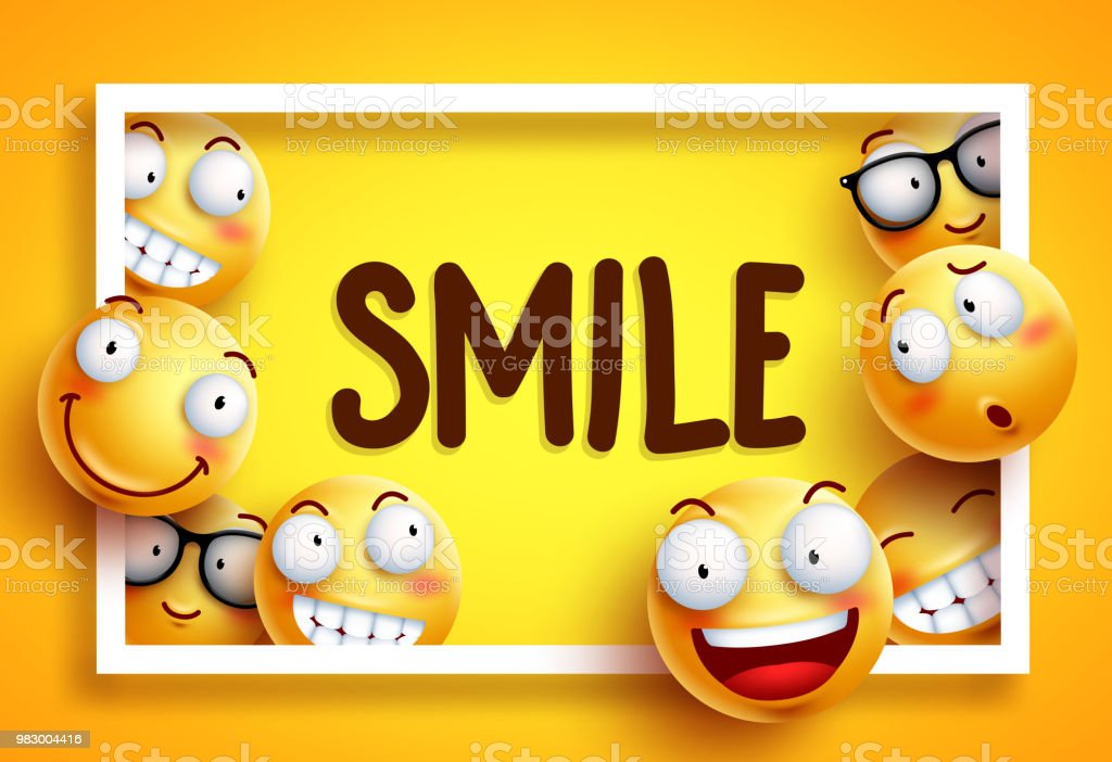 Smileys Vector Background With Smile Text And Yellow Funny Smileys