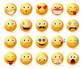 Smileys vector icon set. Smiley face or yellow emoticons with facial expressions and emotions like happy, in love, confused and dizzy isolated in white background. Vector illustration.