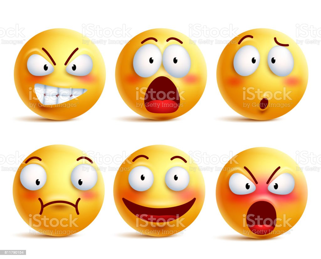 Smileys vector set. Smiley face or yellow emoticons with expressions vector art illustration