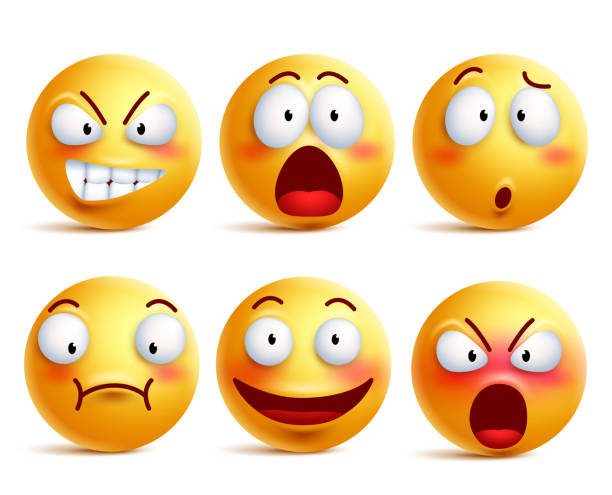 ilustraciones, imágenes clip art, dibujos animados e iconos de stock de smileys vector conjunto. emoticonos de cara o amarillo sonriente con expresiones - emoji asustado