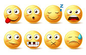 Smileys vector set with funny facial expressions. Smiley face cute emoticons with sleepy, toothless, angry and naughty facial expressions