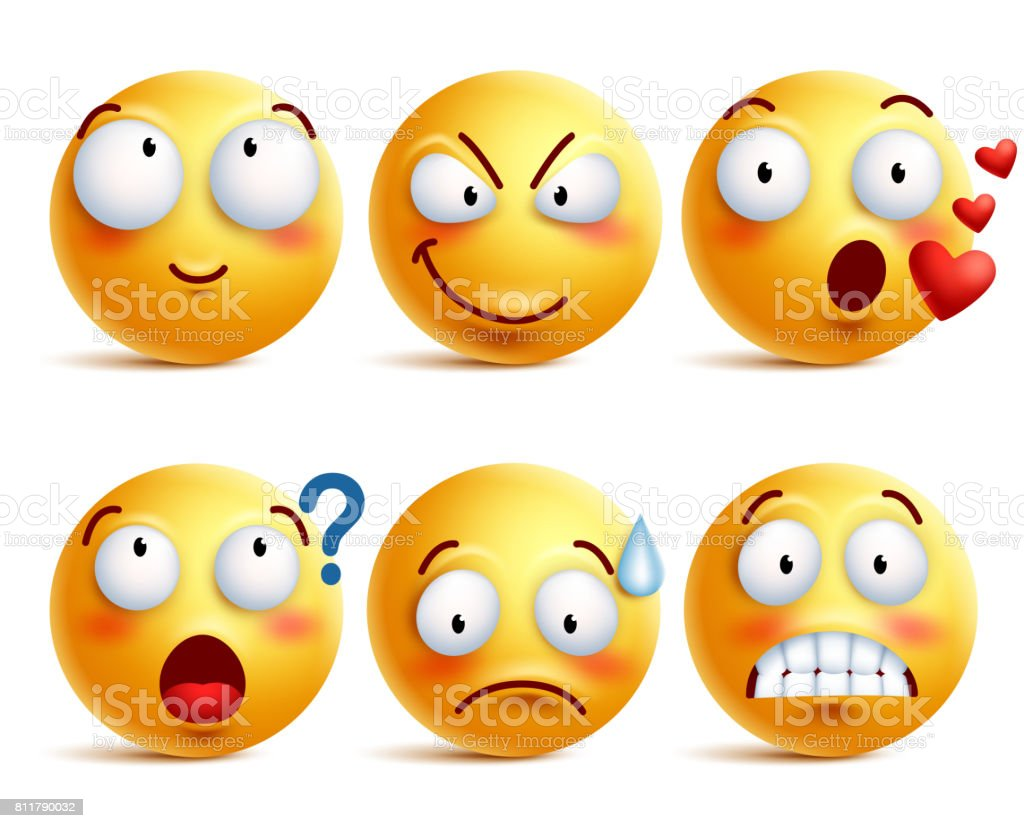 Smileys vector set. Yellow smiley face or emoticons with expressions vector art illustration