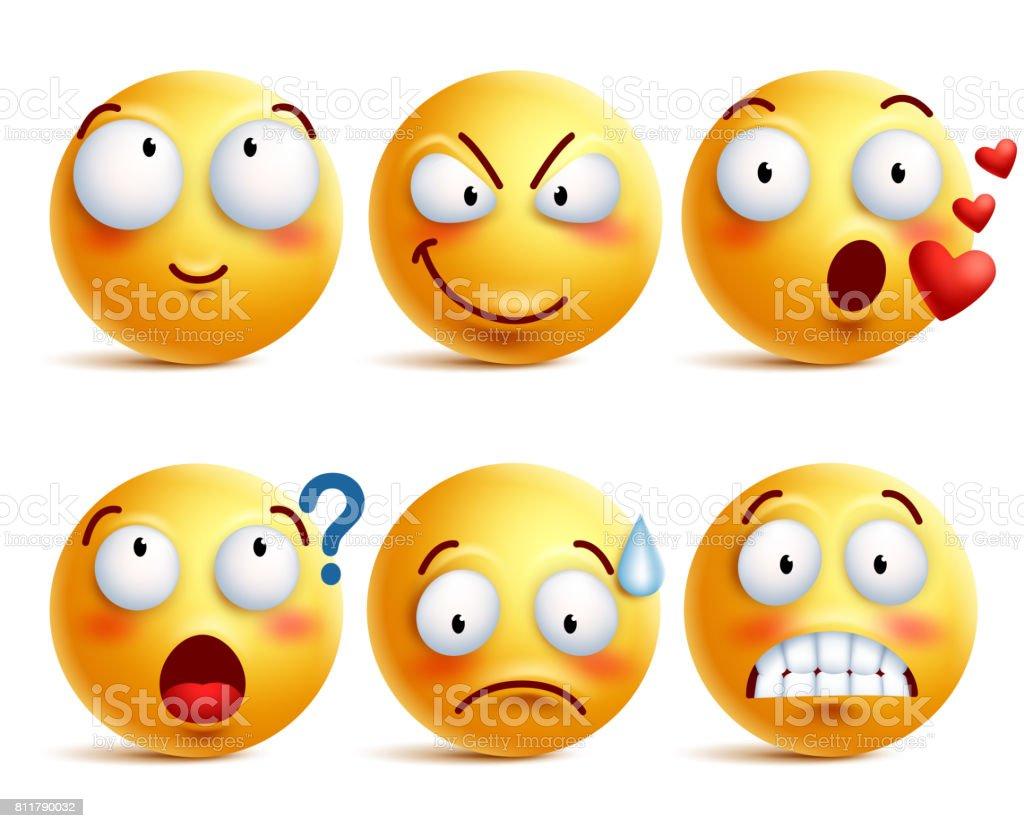 Conjunto de vetores de smileys. Carinha amarela ou emoticons com expressões - ilustração de arte em vetor