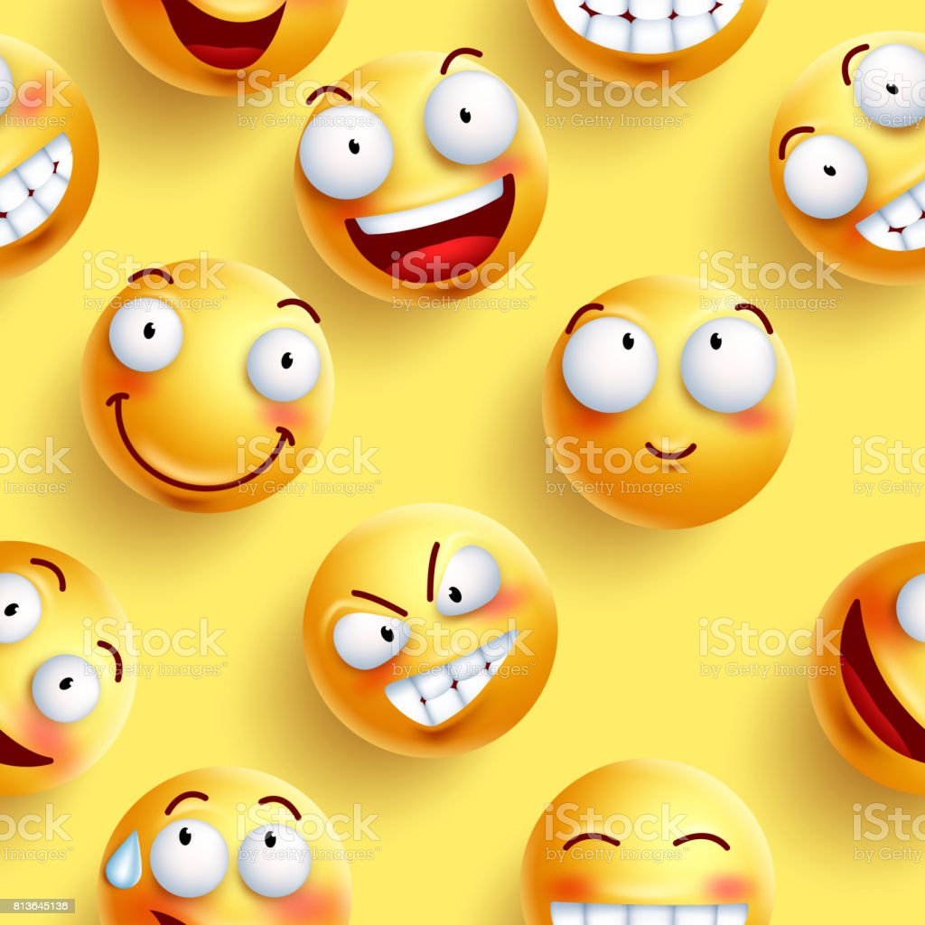 smileys wallpaper seamless vector pattern in yellow color with