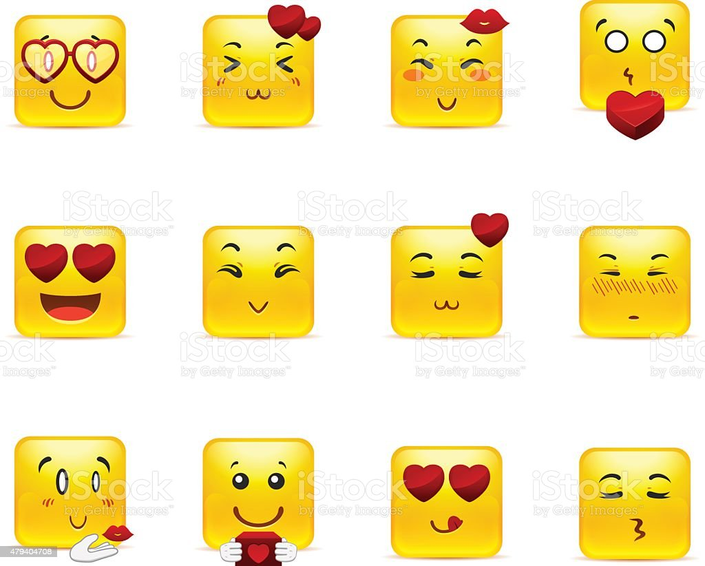 Smileys with hearts vector art illustration