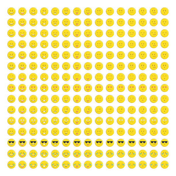 smilies big set. - tears of joy emoji stock illustrations, clip art, cartoons, & icons