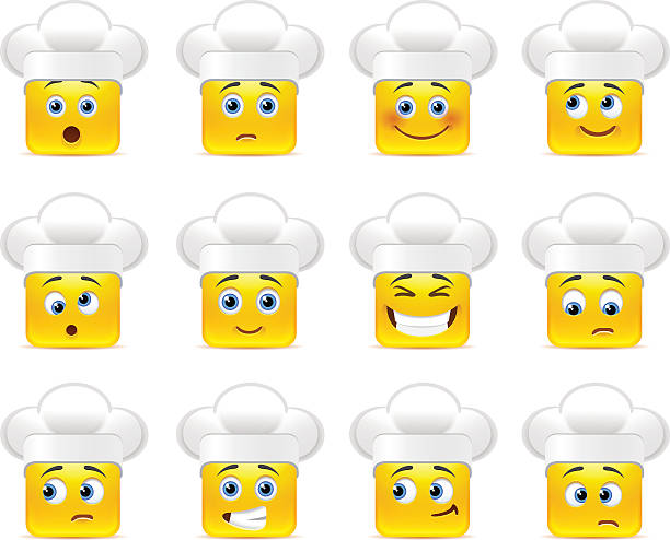 illustrazioni stock, clip art, cartoni animati e icone di tendenza di smiley in cucina - chef triste
