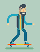 Smiling Adult Man Geek Scooter Happy Hipster Character Ride Skateboard Icon Stylish Background Flat Design Template Vector Illustration