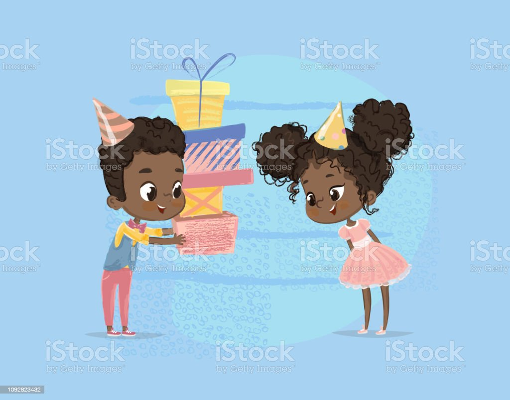 Smiling African American Child Boy Give Girl Birthday Gift Box Brother Character Sister Surprise Present Poster Design Happy Birth Party Celebration