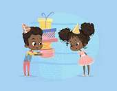 Smiling African American Child Boy Give Girl Birthday Gift Box. Brother Character Give Sister Surprise Present Poster Design. Happy Birth Party Celebration Flat Cartoon Vector Illustration