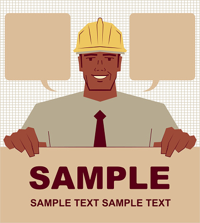 Smiling African ethnicity architect (civil engineer) holding blank sign