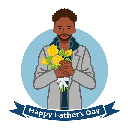 Smiling african man holding a yellow rose bouquet - Fathers day clip art