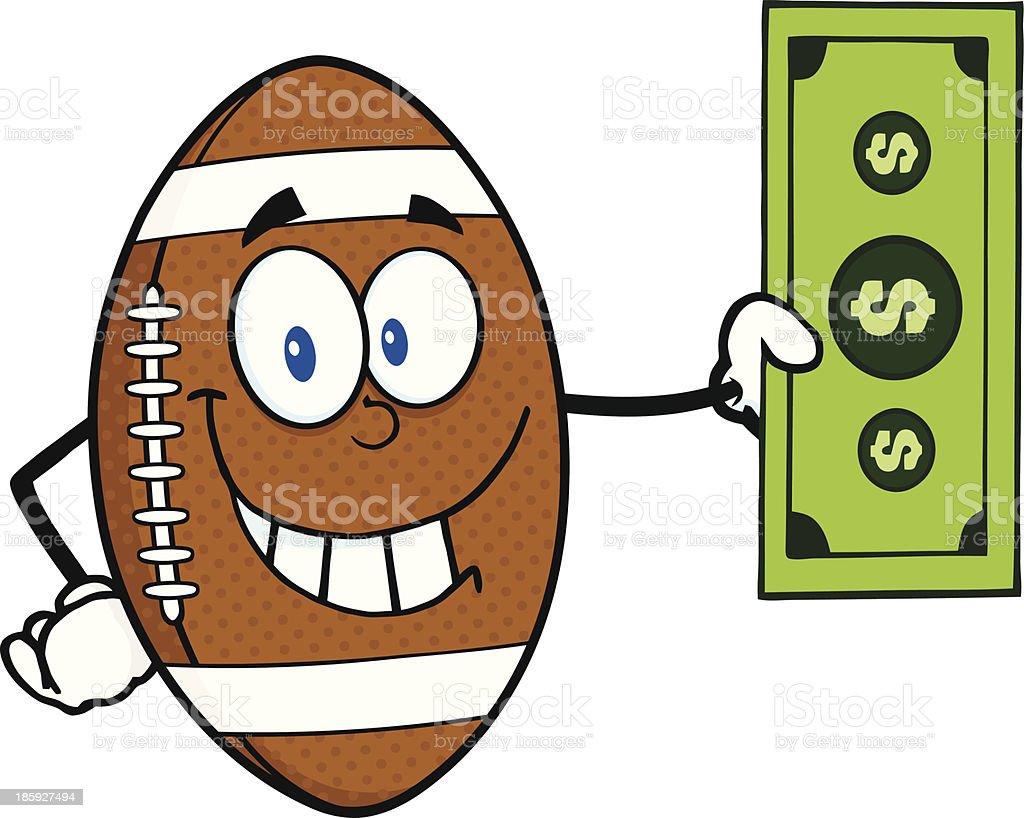 Lächelnd American Football Ball Comicfigur Mit Einem Dollarschein ...