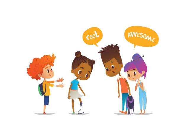 Smiling amputee girl demonstrates her new prosthetic leg to classmates, children are amazed and impressed. Concept of school friendship and inclusion. Vector illustration for banner, poster, website. vector art illustration