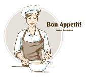 Smiling and happy female chef. Woman chef is cooking. Hand drawn vector illustration.