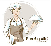Smiling and happy female chef. Woman chef is holding a restaurant cloche. Hand drawn vector illustration.