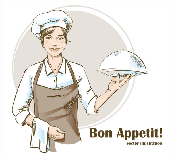 Smiling and happy female chef. Woman chef is holding a restaurant cloche. Hand drawn vector illustration. Smiling and happy female chef. Woman chef is holding a restaurant cloche. Hand drawn vector illustration of waiting staff. apron isolated stock illustrations