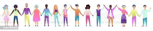 Smiling and happy male and female people holding hands human concept vector id1090460006?b=1&k=6&m=1090460006&s=612x612&h=3afsd9v2ugaxqkucexbyco1njg6krsmbdjidxc5npli=