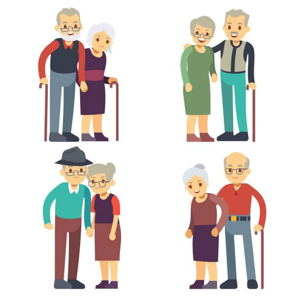 笑顔と幸せの古いカップル。高齢者家族漫画文字ベクトルを設定 - 老夫婦点のイラスト素材/クリップアート素材/マンガ素材/アイコン素材