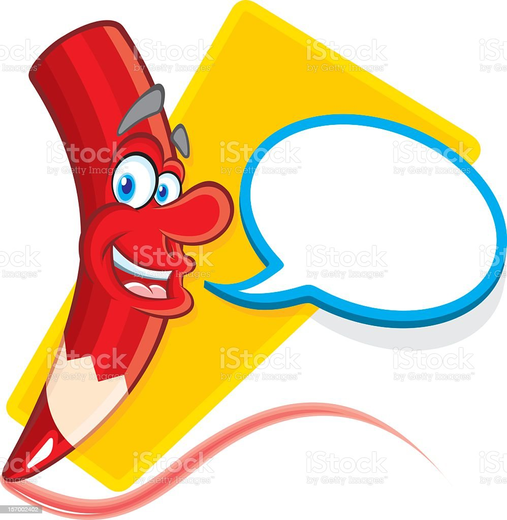 Smiling and talking red Crayon royalty-free stock vector art