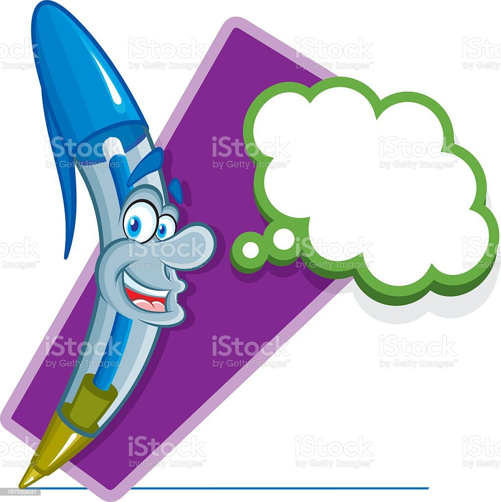 smiling and thinking Blue pen royalty-free stock vector art
